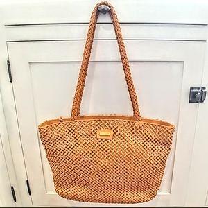 ERIC JAVITS Woven Honey Hue Leather Linen Handbag